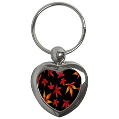 Colorful Autumn Leaves On Black Background Key Chains (heart)  by Amaryn4rt