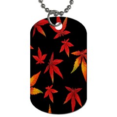Colorful Autumn Leaves On Black Background Dog Tag (one Side) by Amaryn4rt