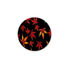 Colorful Autumn Leaves On Black Background Golf Ball Marker by Amaryn4rt