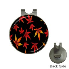 Colorful Autumn Leaves On Black Background Hat Clips With Golf Markers by Amaryn4rt