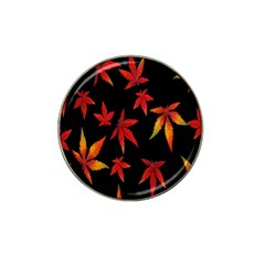 Colorful Autumn Leaves On Black Background Hat Clip Ball Marker by Amaryn4rt