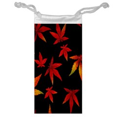 Colorful Autumn Leaves On Black Background Jewelry Bag by Amaryn4rt