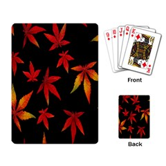 Colorful Autumn Leaves On Black Background Playing Card by Amaryn4rt