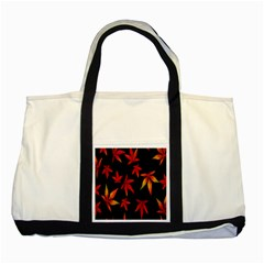 Colorful Autumn Leaves On Black Background Two Tone Tote Bag by Amaryn4rt
