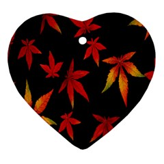 Colorful Autumn Leaves On Black Background Heart Ornament (two Sides) by Amaryn4rt