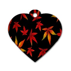 Colorful Autumn Leaves On Black Background Dog Tag Heart (one Side) by Amaryn4rt