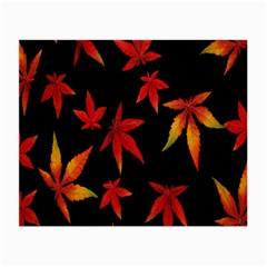 Colorful Autumn Leaves On Black Background Small Glasses Cloth (2 Side) by Amaryn4rt