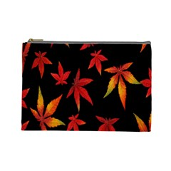 Colorful Autumn Leaves On Black Background Cosmetic Bag (large)  by Amaryn4rt