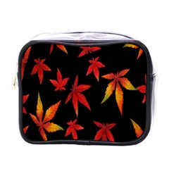 Colorful Autumn Leaves On Black Background Mini Toiletries Bags by Amaryn4rt