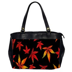 Colorful Autumn Leaves On Black Background Office Handbags (2 Sides)  by Amaryn4rt