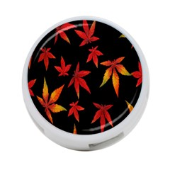 Colorful Autumn Leaves On Black Background 4 Port Usb Hub (one Side) by Amaryn4rt