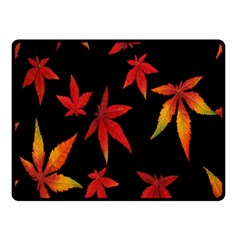 Colorful Autumn Leaves On Black Background Fleece Blanket (small) by Amaryn4rt