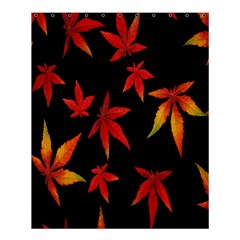 Colorful Autumn Leaves On Black Background Shower Curtain 60  X 72  (medium)  by Amaryn4rt