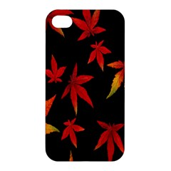 Colorful Autumn Leaves On Black Background Apple Iphone 4/4s Hardshell Case by Amaryn4rt