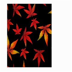 Colorful Autumn Leaves On Black Background Large Garden Flag (two Sides) by Amaryn4rt
