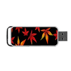 Colorful Autumn Leaves On Black Background Portable Usb Flash (two Sides) by Amaryn4rt