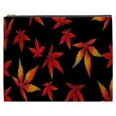 Colorful Autumn Leaves On Black Background Cosmetic Bag (xxxl)  by Amaryn4rt