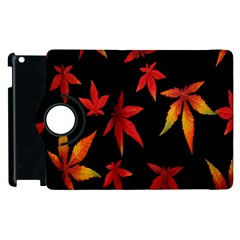 Colorful Autumn Leaves On Black Background Apple Ipad 2 Flip 360 Case by Amaryn4rt