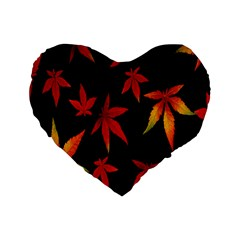 Colorful Autumn Leaves On Black Background Standard 16  Premium Heart Shape Cushions by Amaryn4rt