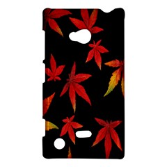 Colorful Autumn Leaves On Black Background Nokia Lumia 720 by Amaryn4rt