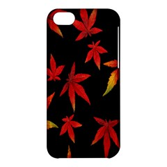 Colorful Autumn Leaves On Black Background Apple Iphone 5c Hardshell Case by Amaryn4rt