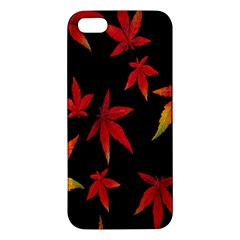 Colorful Autumn Leaves On Black Background Iphone 5s/ Se Premium Hardshell Case by Amaryn4rt
