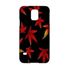 Colorful Autumn Leaves On Black Background Samsung Galaxy S5 Hardshell Case  by Amaryn4rt