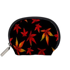 Colorful Autumn Leaves On Black Background Accessory Pouches (small)  by Amaryn4rt