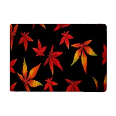 Colorful Autumn Leaves On Black Background Ipad Mini 2 Flip Cases by Amaryn4rt