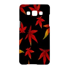 Colorful Autumn Leaves On Black Background Samsung Galaxy A5 Hardshell Case  by Amaryn4rt