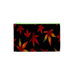 Colorful Autumn Leaves On Black Background Cosmetic Bag (xs) by Amaryn4rt