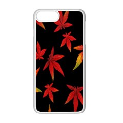 Colorful Autumn Leaves On Black Background Apple Iphone 7 Plus White Seamless Case by Amaryn4rt