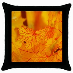 Bright Yellow Autumn Leaves Throw Pillow Case (black) by Amaryn4rt