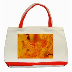 Bright Yellow Autumn Leaves Classic Tote Bag (red) by Amaryn4rt