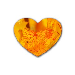 Bright Yellow Autumn Leaves Rubber Coaster (heart)  by Amaryn4rt