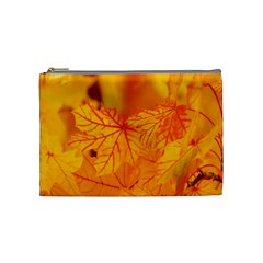 Bright Yellow Autumn Leaves Cosmetic Bag (medium)  by Amaryn4rt