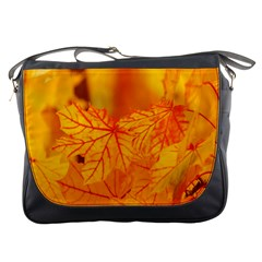 Bright Yellow Autumn Leaves Messenger Bags by Amaryn4rt