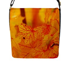 Bright Yellow Autumn Leaves Flap Messenger Bag (l)  by Amaryn4rt