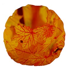 Bright Yellow Autumn Leaves Large 18  Premium Flano Round Cushions by Amaryn4rt