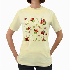 Colorful Floral Wallpaper Background Pattern Women s Yellow T Shirt