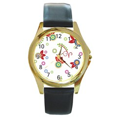 Colorful Floral Wallpaper Background Pattern Round Gold Metal Watch by Amaryn4rt