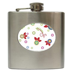 Colorful Floral Wallpaper Background Pattern Hip Flask (6 Oz)