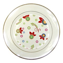 Colorful Floral Wallpaper Background Pattern Porcelain Plates by Amaryn4rt