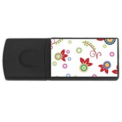 Colorful Floral Wallpaper Background Pattern Usb Flash Drive Rectangular (4 Gb) by Amaryn4rt