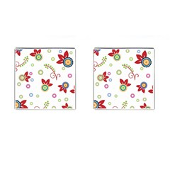 Colorful Floral Wallpaper Background Pattern Cufflinks (square) by Amaryn4rt