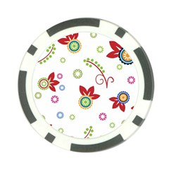 Colorful Floral Wallpaper Background Pattern Poker Chip Card Guard by Amaryn4rt