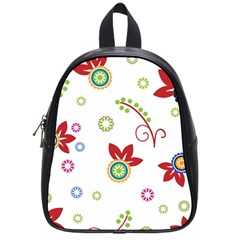 Colorful Floral Wallpaper Background Pattern School Bags (small)  by Amaryn4rt