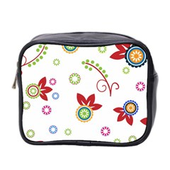 Colorful Floral Wallpaper Background Pattern Mini Toiletries Bag 2 Side by Amaryn4rt