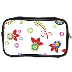Colorful Floral Wallpaper Background Pattern Toiletries Bags by Amaryn4rt