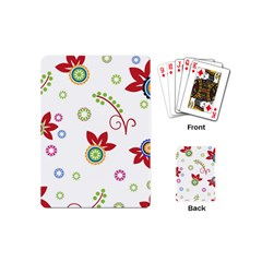 Colorful Floral Wallpaper Background Pattern Playing Cards (mini)  by Amaryn4rt